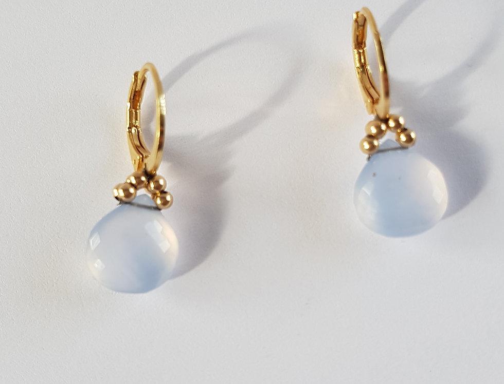 Chalcedony Heart Earrings