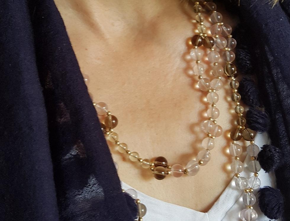 Rose/Lemon/Smoky Quartz Yoga Necklace