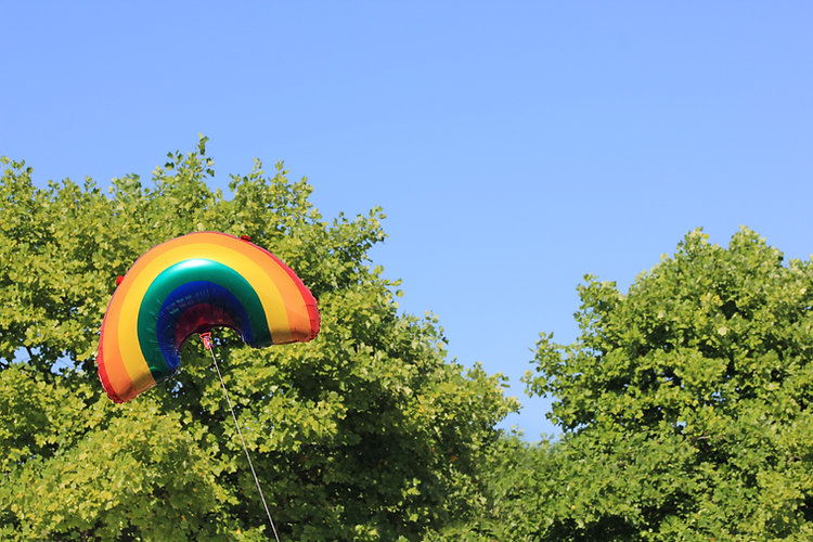Rainbow ballon in the sky with trees behind it.