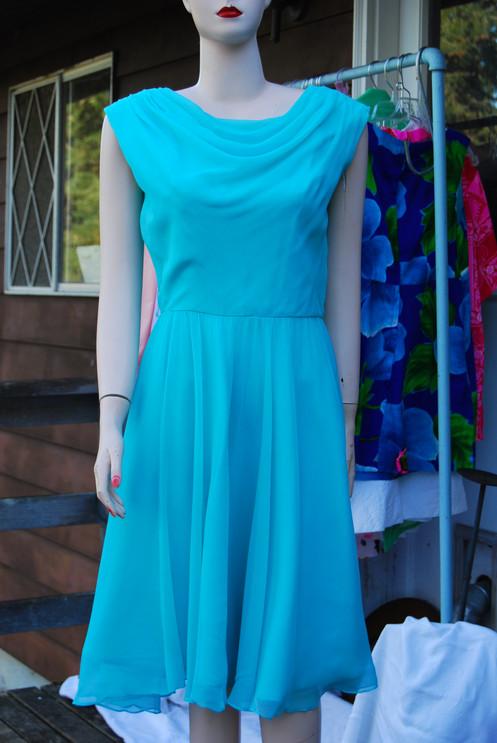 80c9d761e129 Late 1960's aqua chiffon dress, tag on Sz S