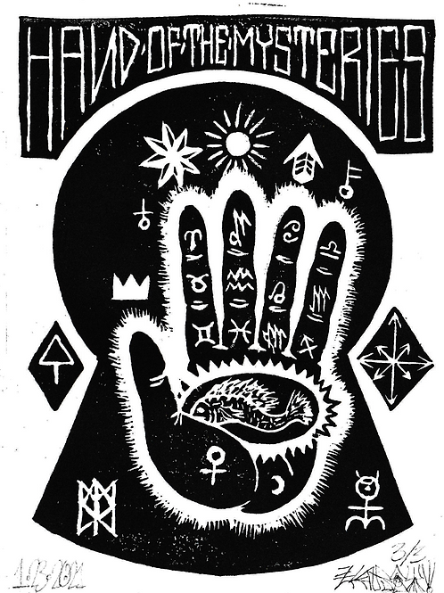 "Hand Of Mysteries - 5""x7""Relief Print"