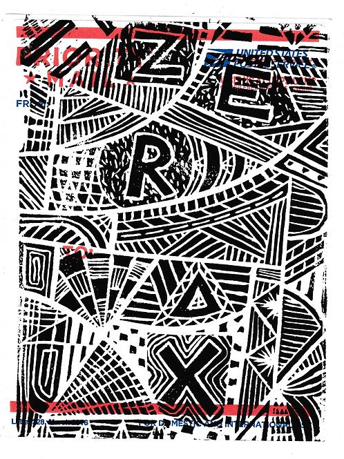 "Abstract Linocut - 5""x7"" Print"