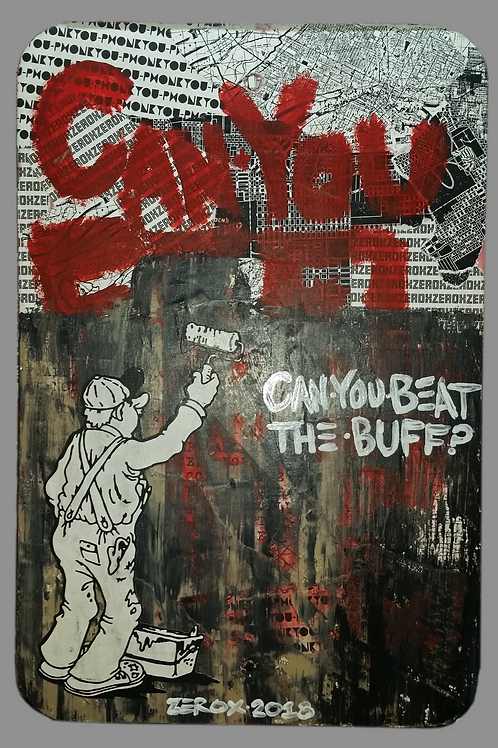 """""""Can You Beat The Buff?"""" (Metal Sign)"""