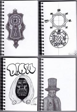 Pen & ink.