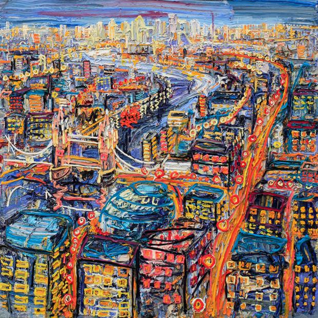 'Tower Bridge' oil on canvas, 6x6 ft