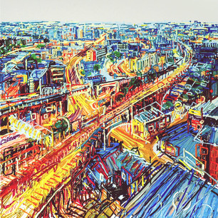 'Manchester' 7 x 7 ft oil on canvas