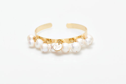 Bracelet Jonc 10 perles véritables