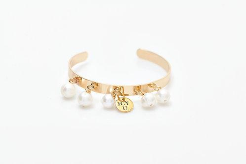 Bracelet Jonc or 5 perles véritables
