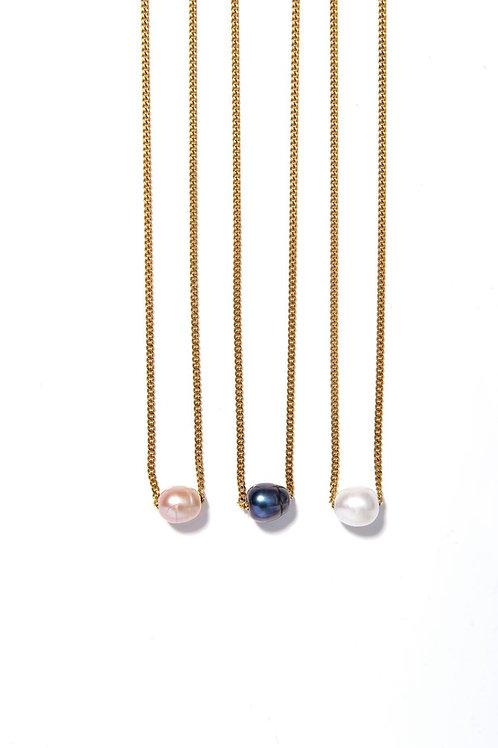 Collier Mermaid chaine inox plaqué gold et sa  perle véritable