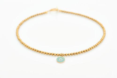 Collier T Fleur, hématite gold biseauté 4mm