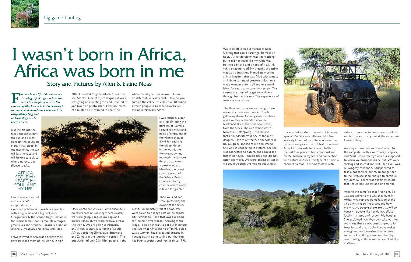 I wasn't born in Africa, Africa was born in me by Allen and Elaine Ness