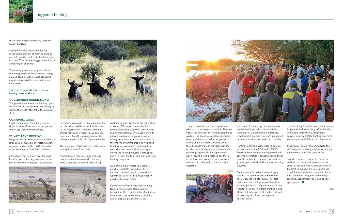 The importance of Sport Hunting in Africa by Elaine Ness