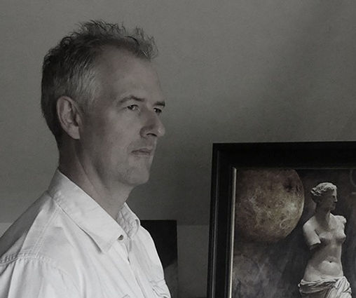 Figurative artist, designer and lecturer Richard Whincop in his studio