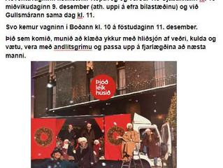 Aðventuvagn Þjóðleikhússins kemur í Kópavog