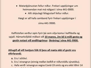 Tillkynning frá félagsmiðstöðvunum