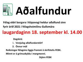 Aaðlfundur FEBK verður 18. september í Gullsmáranum.