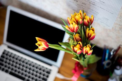 Тюльпаны и ноутбук