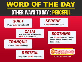 Word of the Day Other way to say Peacful