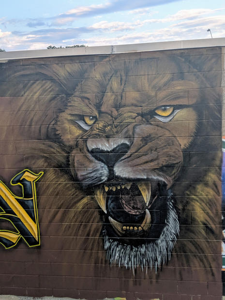 evolution sign and mural lion