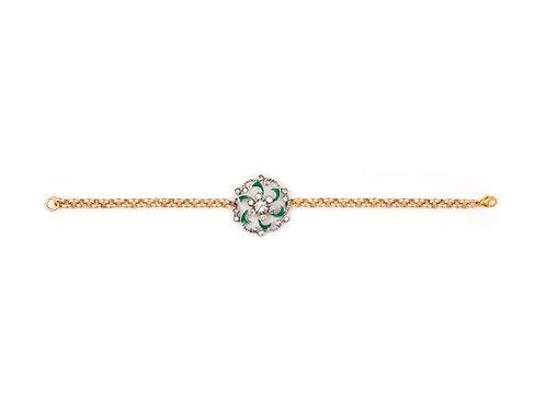 Edwardian Silver & Enamel Charm Bracelet