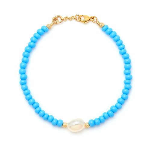 Turquoise, Gold & Pearl Bracelet
