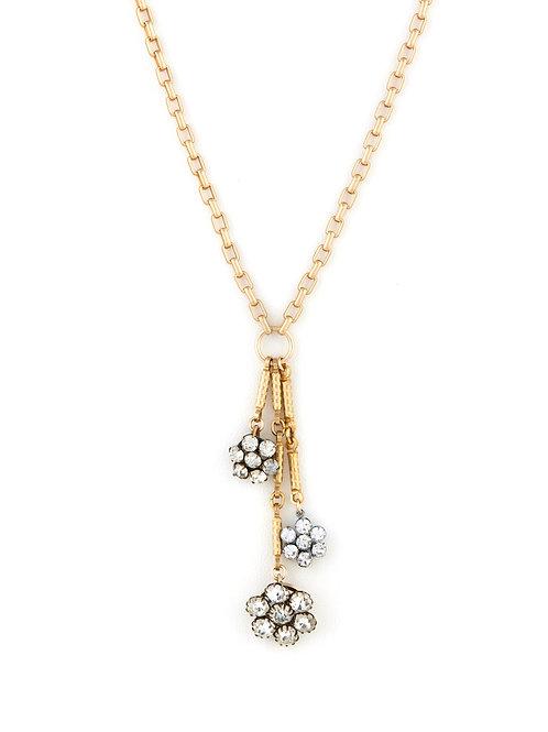 Antique Rhinestone Daisy Tassle Necklace