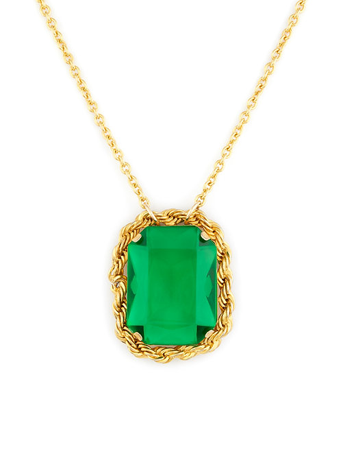 Oversized Green Stone Pendant