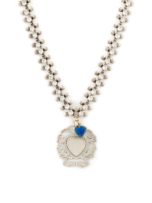 Victorian Silver Heart Shield & Art Deco Chain