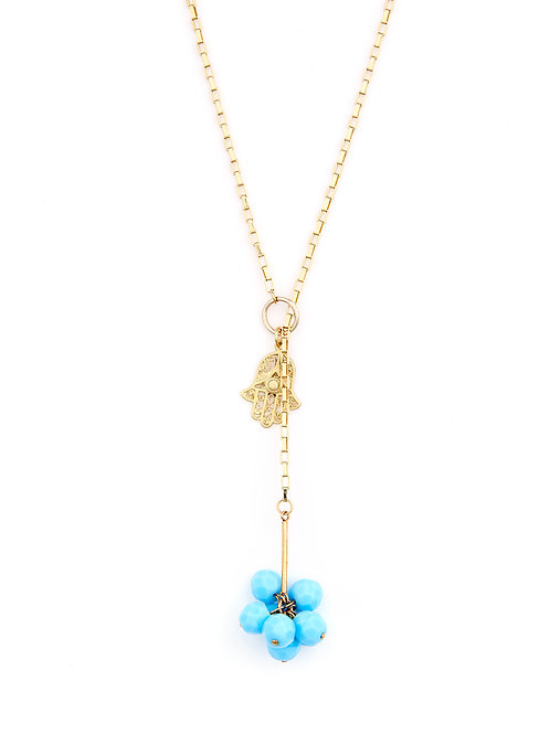 Turquoise Cluster and Hamsa Necklace