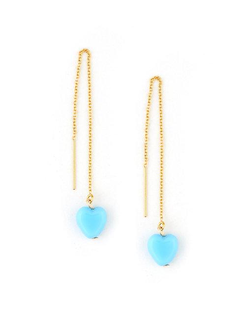 Blue Heart Slider Earring