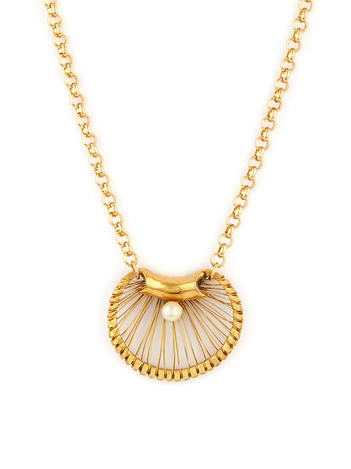 Vintage Shell & Pearl Pendant