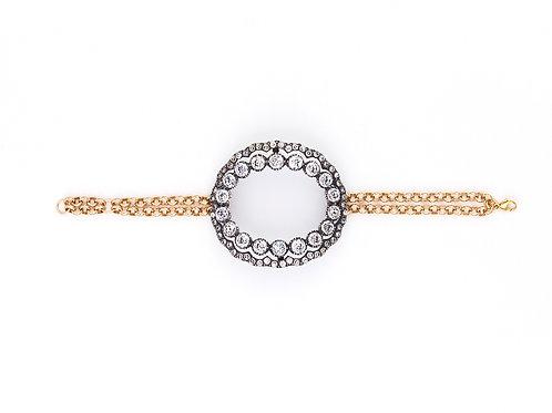 Large Edwardian Silver Oval Charm Bracelet