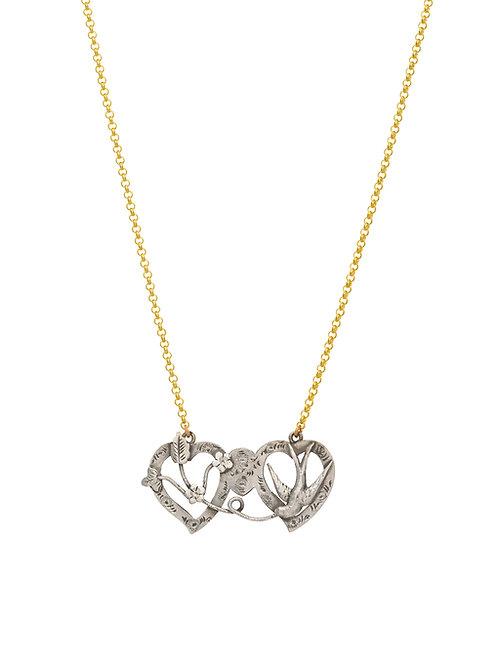 Victorian Silver Sweetheart Hearts & Swallow