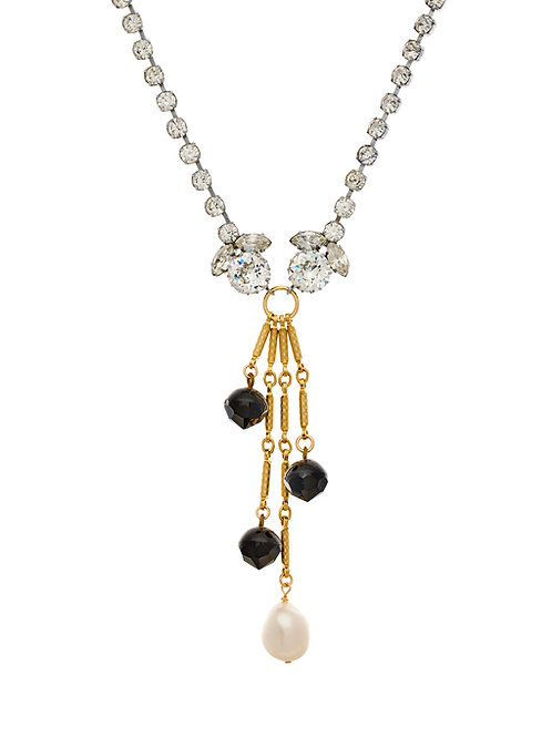 Art Deco Jet Beads, Pearl & Crystal Necklace