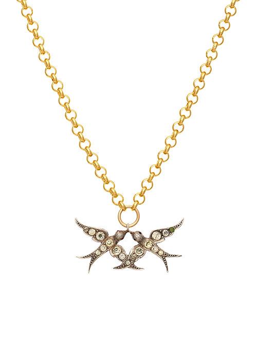 Victorian Silver & Paste Swallows