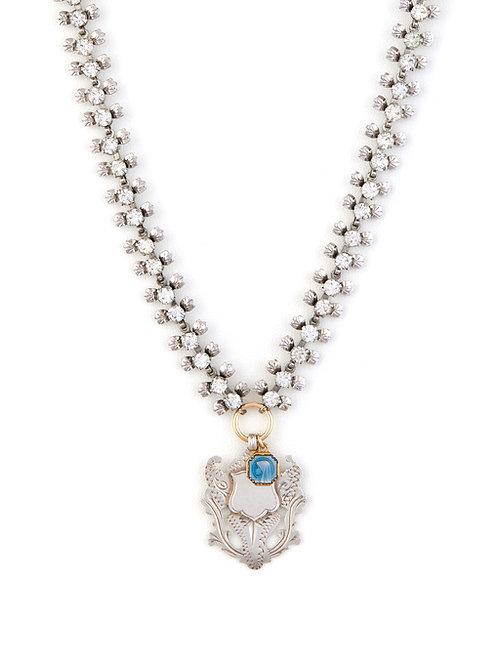 Victorian Silver Shield & Rhinestone Chain