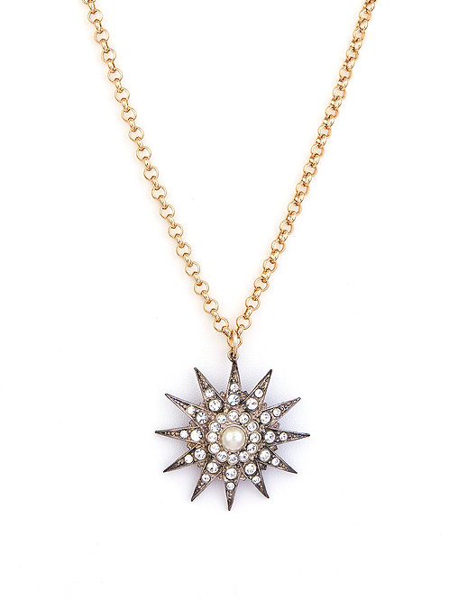 Victorian Starburst and Pearl Pendant