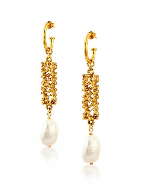Vintage Bar & Pearl Earrings