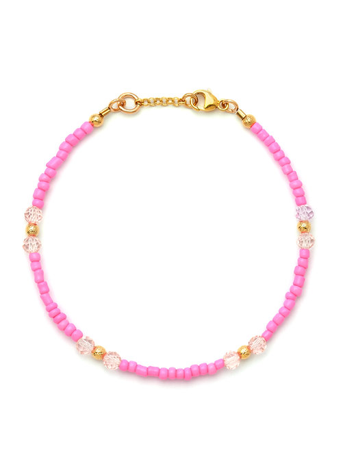 Bubblegum Pink & Crystal Bracelet