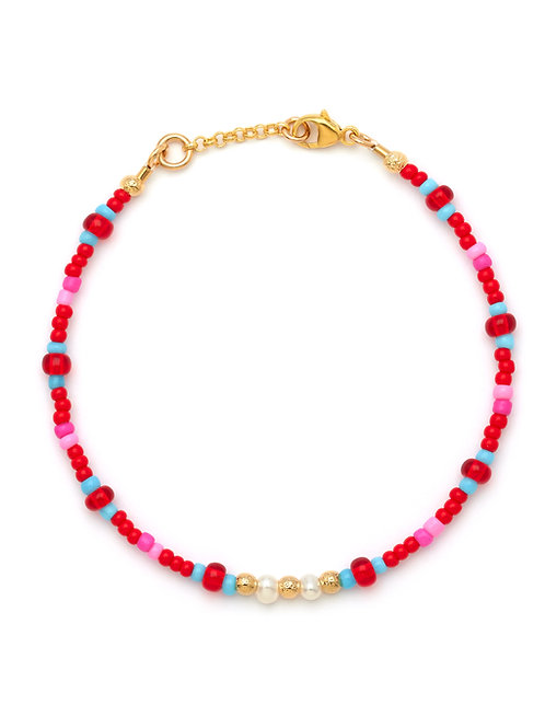 Red Kissed Turquoise, Pearl & Gold