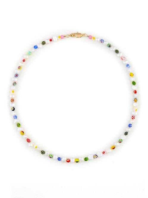 Millefiori & Pearl Necklace