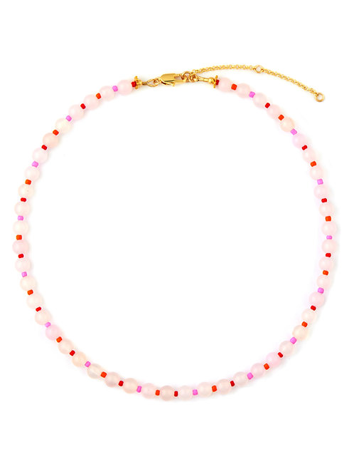 Pink Agate & Glass Bead