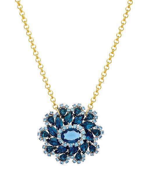 Vintage Blue Crystal Swirl