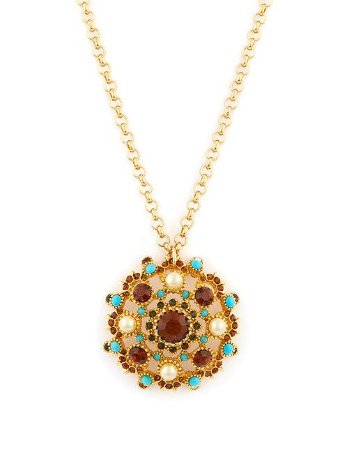 Oversized Vintage Crystal Medalion