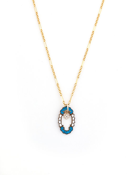 Art Deco Enamel Blue & Clover Pendant