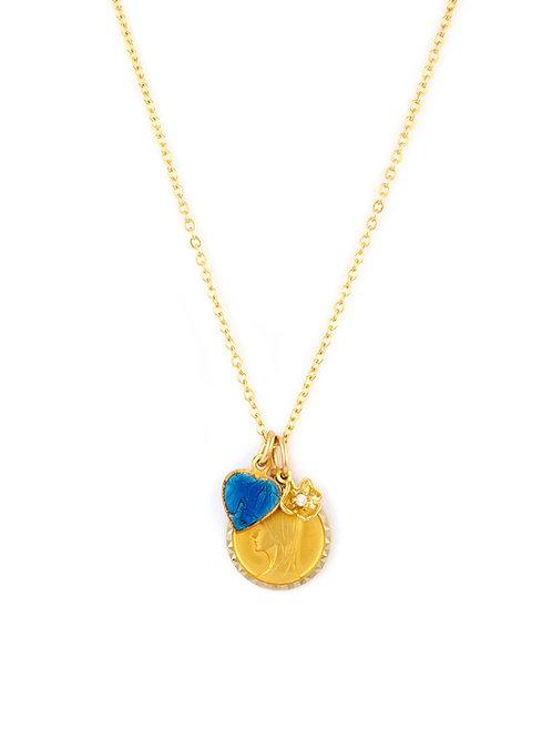 Vintage Icon & Petal Charm Necklace