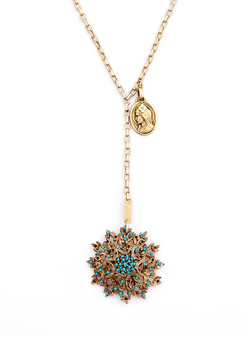 Starburst Necklace with Antique E.Dropsy Medal