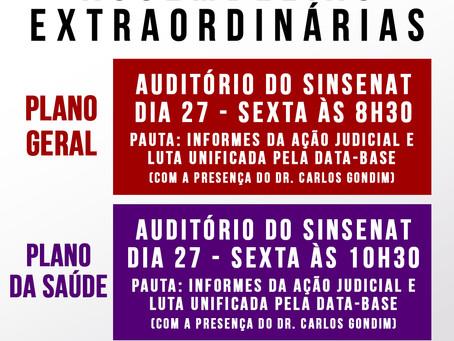 ASSEMBLEIAS EXTRAORDINÁRIAS DIA 27 DE DEZEMBRO
