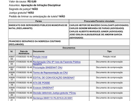 AÇÃO DO PLANO DE CARGO GERAL - SINSENAT ANULA AS DECISÕES DA 6ª VARA DA FAZENDA PÚBLICA QUE HAVIAM E