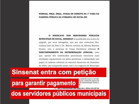 Sinsenat entra com petição para garantir pagamento dos servidores públicos municipais